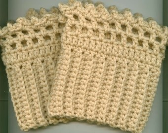 Crocheted Boot/Skate Cuffs/Toppers-  Leg Warmers- Ruffle Edging -CREAM - Gift Ready -Free Shippingin US
