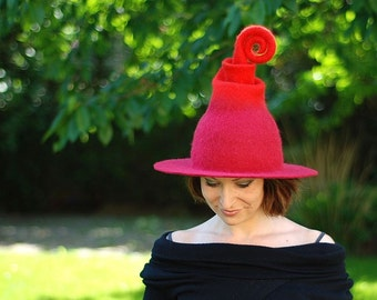 Adorable witch wizard hat red or any other color Custom made