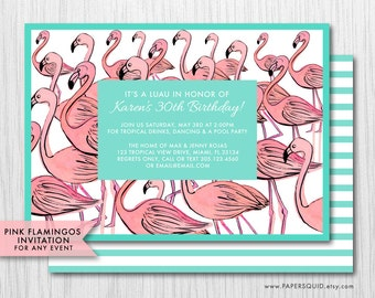 COLOR OPTIONS Pink Flamingos Invitation - Hand drawn- For Any Event - Digital Printable File - Item 148