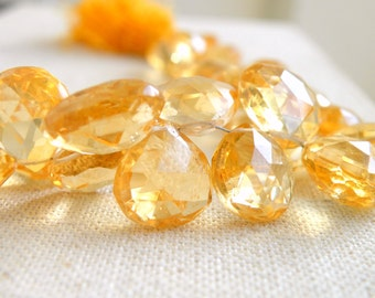 Citrine Gemstone Faceted Heart Briolette 13 and 14mm 4 beads