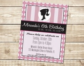 DIGITAL Vintage Barbie Silhouette Invitation in Pinks and Black with Stripes and Polka Dots