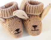 PDF Knitting Pattern for Bunny Baby Bootee Slippers, baby knitting, baby pattern, infant shoes, easy knitting, beginner knitting