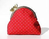 Kiss lock coin purse - red polka dots