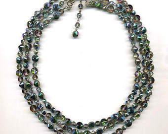 Vintage Crystal Bead Necklace Vitrail Medium Swarovski Art. 5101 / 349 Three Strands