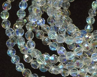 Vintage Beads 5mm Crystal Clear AB Glass Faceted Rounds 100 Pcs.