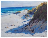 SEASCAPE OIL PAINTING  Impressionist Beach Oil Painting Realistc Sand Dunes Artwork by Graham Gercken