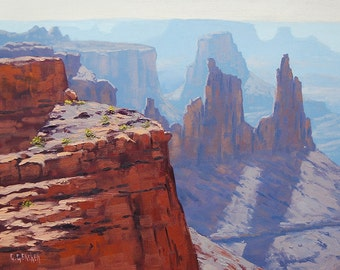 CANYON PAINTING DESERT Landscape Painting Traditional Art by listed Artist G.  Gercken
