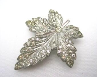 Vintage Art Deco Dress Clip - Rhinestone Leaf