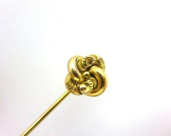 Antique Love Knot Stick Pin - Victorian Gold Repousse