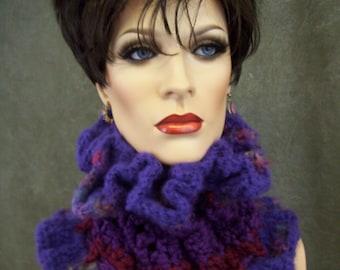 OOAK,Purple Headband,Crochet Collar,Scarflette,Dreadlocks,Head Wrap,Freeform Crochet,Accessory,Hair Accessory,Women