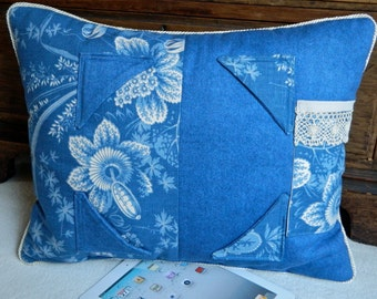 iPad Pillow in Denim and Shabby Chic for your tablet or gadget stand