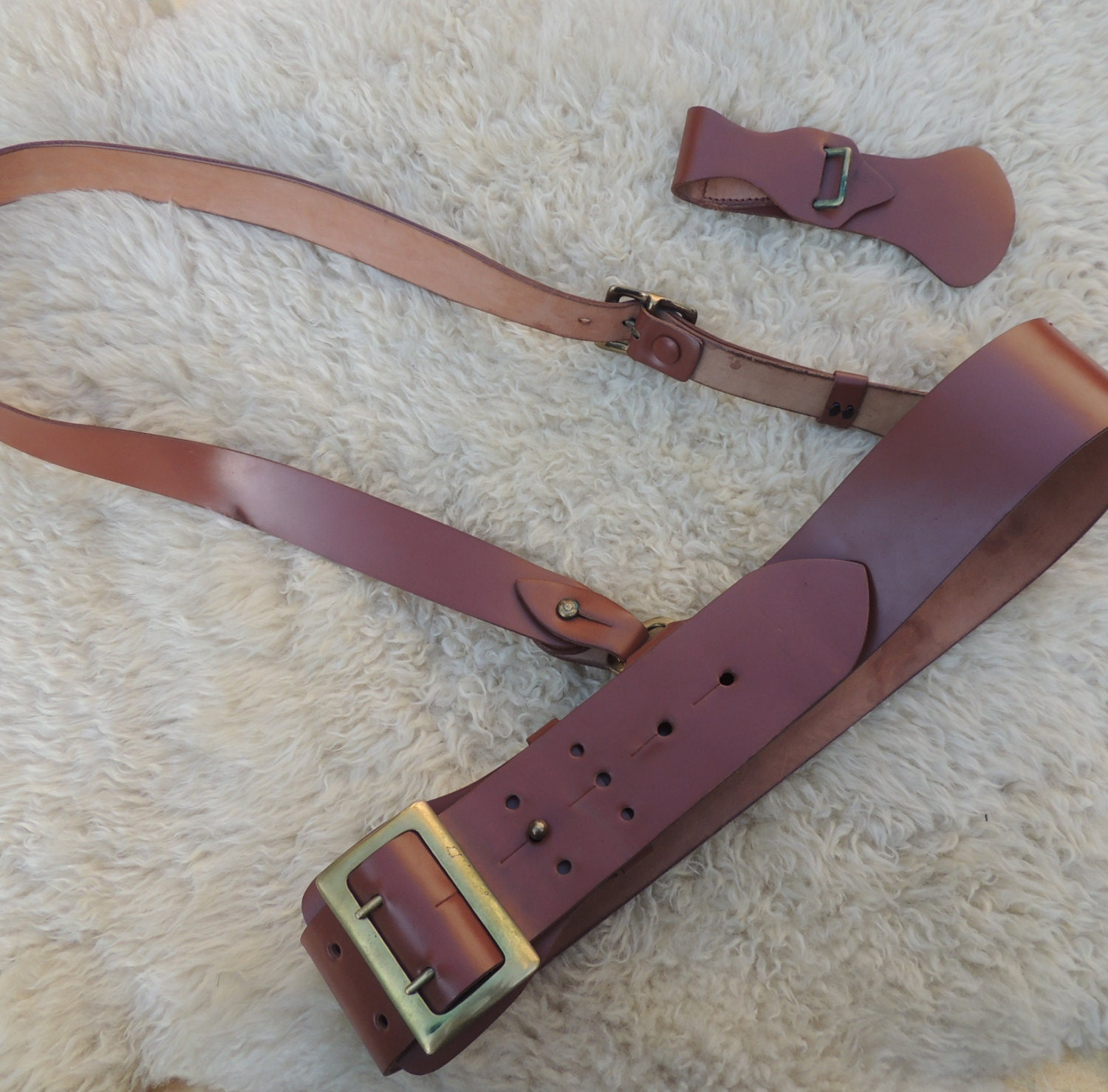 reserved sold vtg brown leather sam browne belt fresh