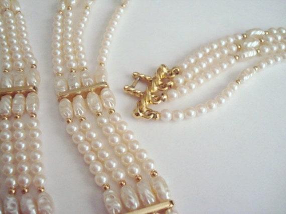 Vintage Faux Pearl Necklace Bracelet Set