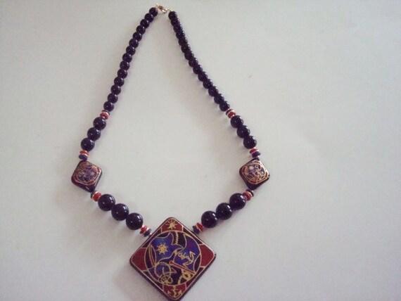 vintage black japanese bead necklace by vintagecharmplace