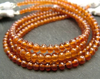 "Spessartine Garnet Rondelles, AAA, Faceted, 3-4mm - 8"" Strand (CG6400)"