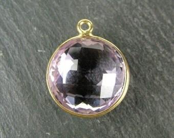 Pink Amethyst Gold Vermeil Round Pendant 14mm (CG5815)