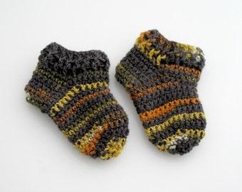Crocheted Striped Baby Socks. Wool. Booties.