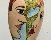 Ceramic XL VASE Lovers  Faces Garden Party Handpainted  on Etsy