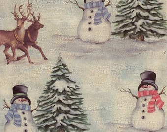 Made In Italy Authentic Florentine Paper Tassotti Snowman Christmas  T550