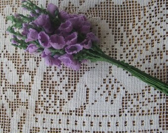Vintage Millinery Flowers Fabric And Paper Campanulas Cluster Purple Flowers  VF 057 PU