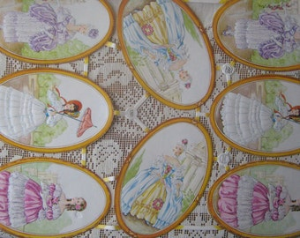 Vintage PZB Germany Die Cut Paper Marie Antoinette Lady Oval Scraps PZB 1361