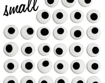 Small White Royal Icing Eyes - tiny edible royal icing eyes for decorating halloween, animal, or people cookies, cupcakes, and cakepops
