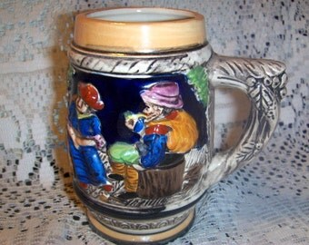 Mug Stein Small Hand Painted marked ESD Japan Numbered
