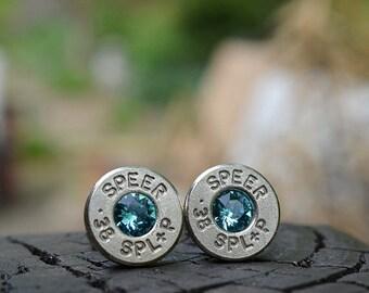 Bullet Earrings stud earrings or post earrings, Speer .38 Special earrings silver earrings with Swarovski crystals