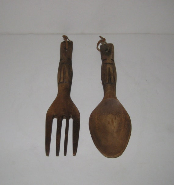Wall Decor Wooden Fork And Spoon : Vintage wooden tiki spoon and fork wall hanging by