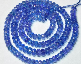 4.88MM-6.88MM Tanzanite Faceted Rondelle Bead 17 inch strand