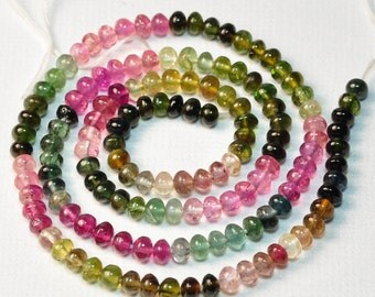 "3.7MM-4MM Pink Blue Green Yellow Tourmaline Smooth Rondelle Beads 16"" strand"
