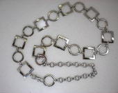 Vintage Silver Metal Belt in Circles and Squares