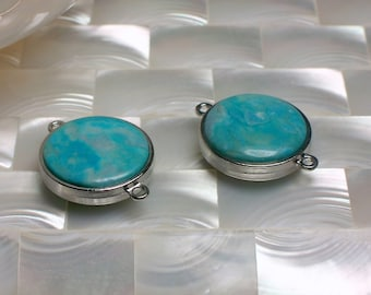 2pcs Turquoise Jasper Connector, Silver tone Connector, Gemstone Link, Gemstone Finding, Blue, Jewelry Supplies, Jewellery Supplies