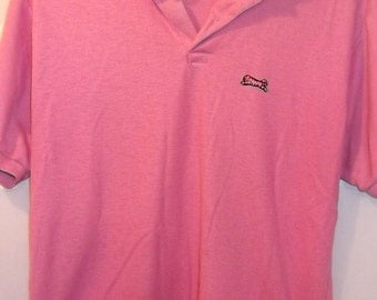 Vintage 80s Deep PINK Le TIGRE Polo Shirt, Gnarly, Tripindicular, 42 Bust, Punk, Preppy
