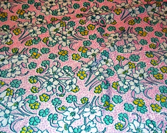 Vintage 70s Cotton Knit, Floral Fabric, Yardage, Over 2 Yards