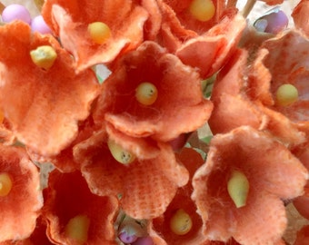 3 Bouquets Vintage  Flocked Millinery Flowers Forget Me Nots -Tangerine  - Doll Flowers - Autumn Bouquet - Easter Basket Flowers