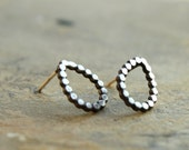 FREE Shipping Tear Drop Beaded Studs Drop Post Earrings Everyday Studs Metalwork Sterling Silver