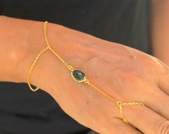 Emerald Green May Birthstone Slave Bracelet Moss Green Agate Finger Bracelet Handflower Hand Chain Body Jewelry Gemstone Handmade Jewelry