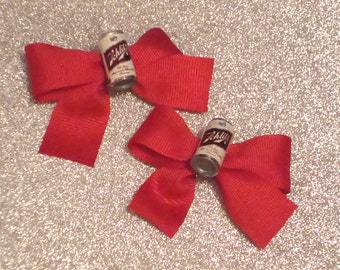 Retro Schlitz Beer Can Hair Bows in Red