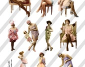 Risque Ladies Digital Collage Sheets 3 Sheets D13A, B and C- Instant Download