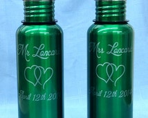 Personalized Stainless Steel Water Bottles Wedding Couple Groomsman Best Man Sports Bottle,Set of 2
