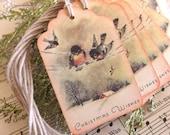 Christmas Birds Gift Tags // Vintage // Set of 6