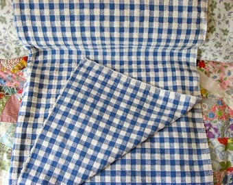 1 Yard Vintage 1960's Blue and White Check Terrycloth Cotton Rustic Look Fabric, Recycled Fabric, Tablecloth