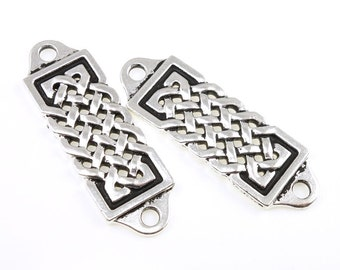 Silver Celtic Focal Bar Connector Link Findings TierraCast Celtic Centerpiece for Leather Jewelry Yoga Charms Knot Work Knotwork (pf2033)