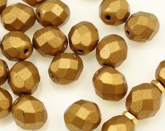 25 MATTE METALLIC GOLDENROD 8mm Round Czech Glass Beads - Butterscotch Dark Golden Brown Autumn Beads - Firepolish Fire Polish Faceted Beads