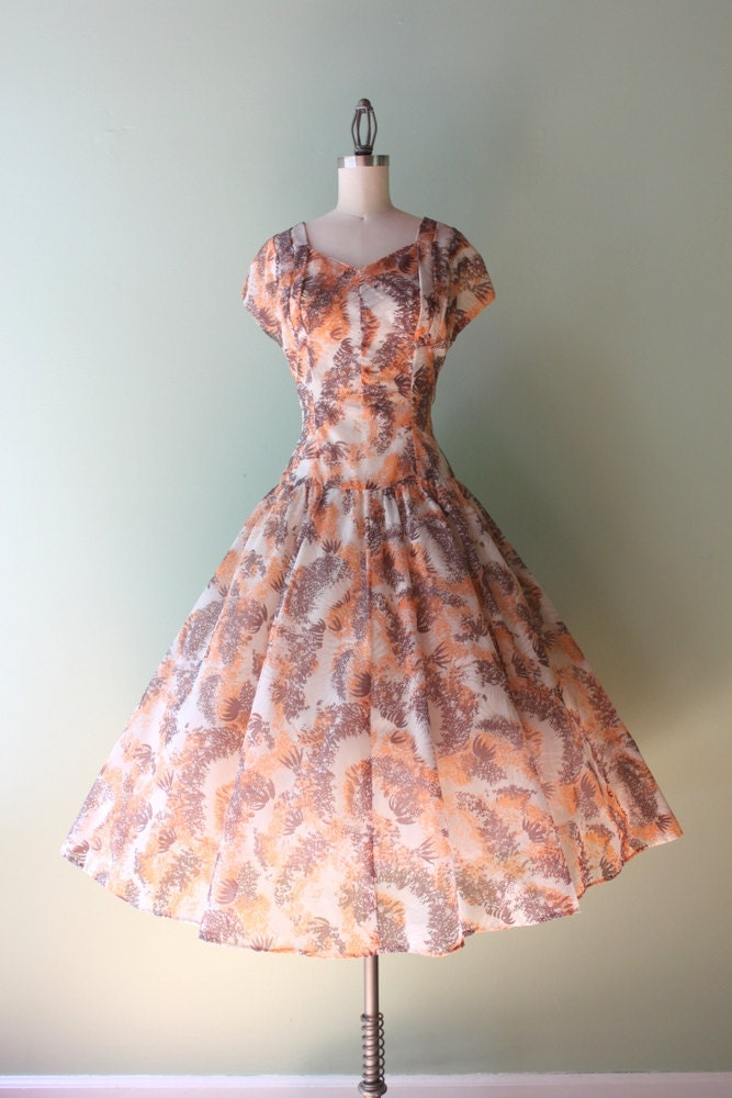 1950s Sheer Dress / Vintage 50s Party Dress / 50s Sheer Full Skirt Floral Burst Dress