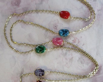 vintage glass wire wrapped baroque jewel tone swirl connector bead gold tone long necklace - j3859