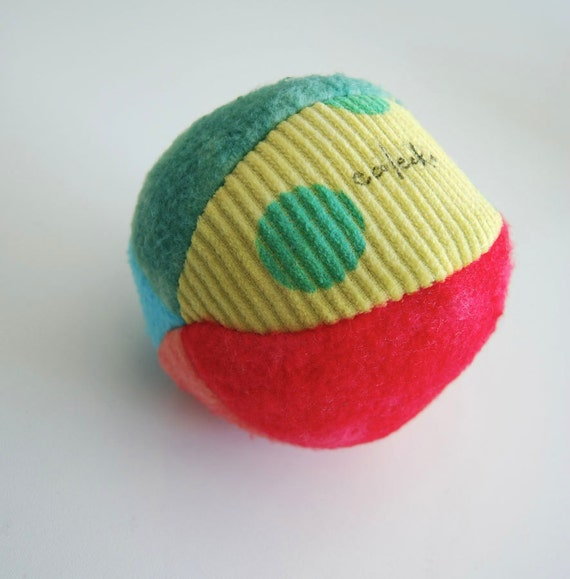 Eco Organic Fabric Ball Rainbow Brights Montessori Play