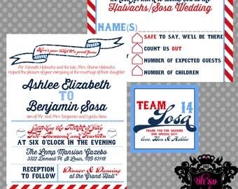 Ashlee /// Baseball Wedding Invitation Set  /// Digital Printable Files