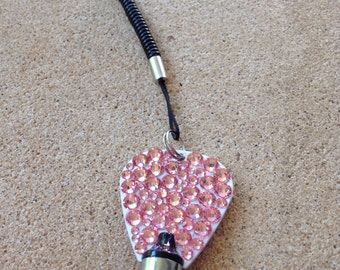 One white metal stylus embellished with light rose Swarovski crystals